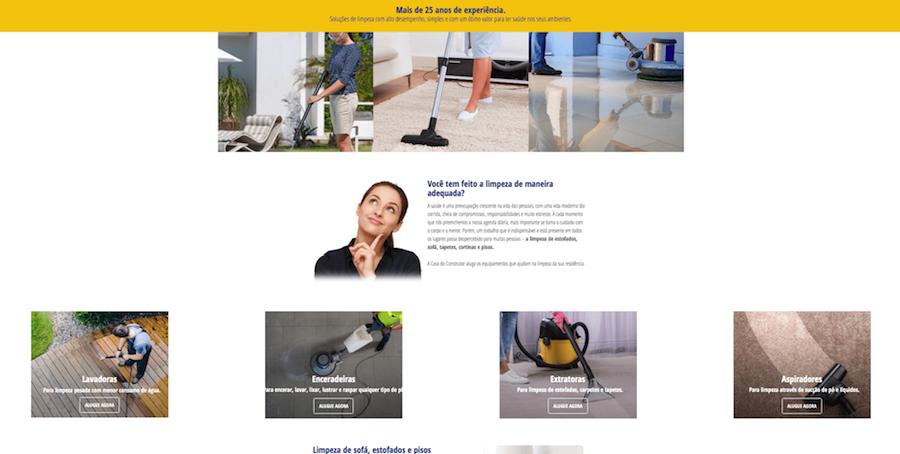 landing page casa do construtor limpeza