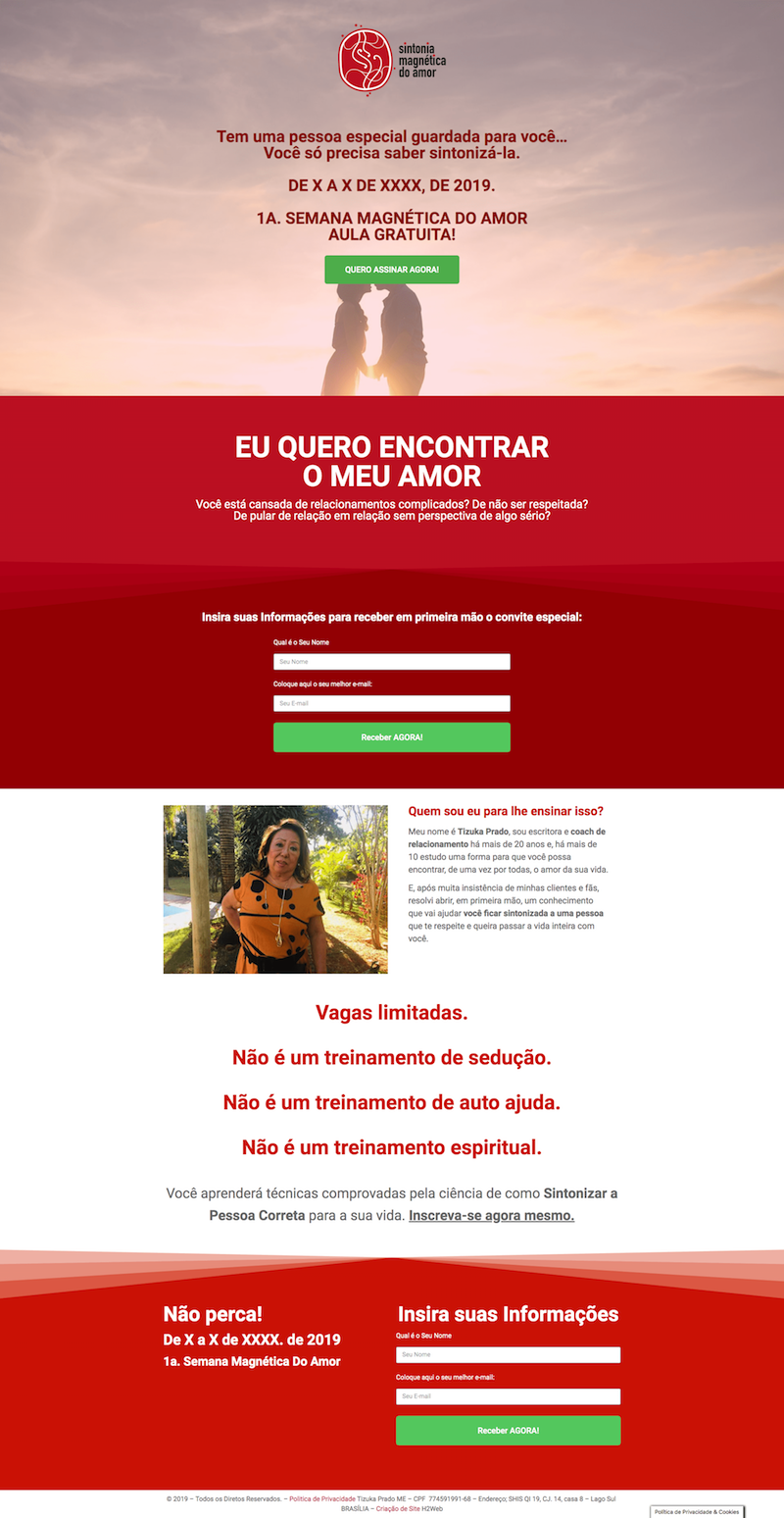landing pages sintonia magnética do amor